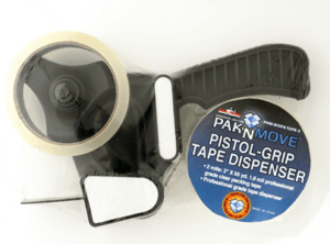 TAPE DISPENSER & 2 ROLLS (CLEAR, 2″ X 55YD)